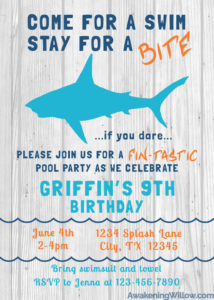 Shark Birthday Party Unique Decorations Games Invitations Thank - Free shark birthday invitation template