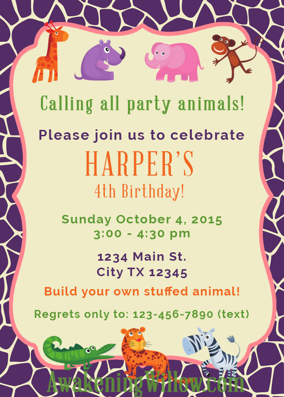 Make your own stuffed animals birthday party decorations animalinvite stopboris Choice Image